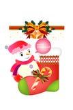 Χαμογελώντας χιονάνθρωπος στις κάλτσες Χριστουγέννων με τη διακόσμηση - απεικόνιση eps10 διανυσματική απεικόνιση