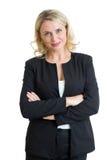 Χαμογελώντας ώριμη επιχειρησιακή κυρία που απομονώνεται πέρα από το άσπρο υπόβαθρο Στοκ φωτογραφίες με δικαίωμα ελεύθερης χρήσης