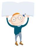 Χαμογελώντας redhead school-boy εκμετάλλευση επάνω από το κενό σημειωματάριο Στοκ φωτογραφία με δικαίωμα ελεύθερης χρήσης