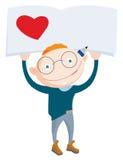 Χαμογελώντας school-boy εκμετάλλευση επάνω από το σημειωματάριο με την κόκκινη καρδιά Στοκ εικόνες με δικαίωμα ελεύθερης χρήσης
