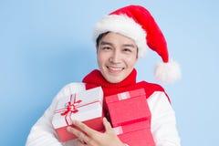 Χαμόγελο ατόμων με τη Χαρούμενα Χριστούγεννα στοκ φωτογραφίες