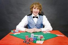 χαμόγελο πόκερ εμπόρων στοκ φωτογραφία με δικαίωμα ελεύθερης χρήσης