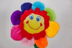 Χαμόγελο του παιχνιδιού λουλουδιών με τα πολύχρωμα πέταλα στο γκρίζο υπόβαθρο στοκ εικόνα