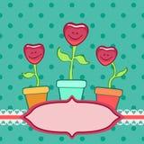 Χαμόγελο των καρδιών flowerpots Στοκ εικόνες με δικαίωμα ελεύθερης χρήσης