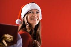 χαμόγελο santa κοριτσιών δώρω&n Στοκ φωτογραφία με δικαίωμα ελεύθερης χρήσης