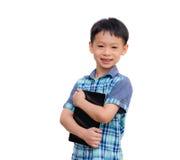Χαμόγελα μικρών παιδιών με τον υπολογιστή ταμπλετών Στοκ Εικόνα