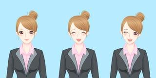 Χαμόγελο επιχειρησιακών γυναικών κινούμενων σχεδίων ευτυχώς Στοκ εικόνα με δικαίωμα ελεύθερης χρήσης