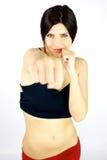 Χαμόγελο και punching γυναικών Στοκ εικόνα με δικαίωμα ελεύθερης χρήσης