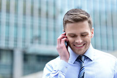 Χαμόγελο του εταιρικού τύπου που μιλά στο τηλέφωνο Στοκ εικόνες με δικαίωμα ελεύθερης χρήσης