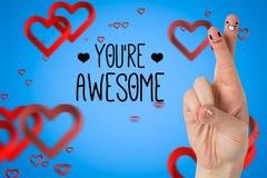 Χαμόγελο των δάχτυλων ζευγών με τις ψηφιακά παραγμένα καρδιές και το μήνυμα απεικόνιση αποθεμάτων