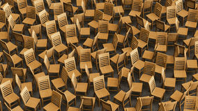 Χαοτική σειρά ξύλινων εδρών που αντιμετωπίζουν τις τυχαίες κατευθύνσεις Στοκ φωτογραφίες με δικαίωμα ελεύθερης χρήσης