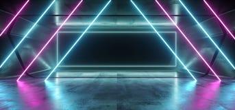 Χαοτικός νέου καμμένος του Sci Fi λέιζερ πορφυρός μπλε δονούμενος σκοτεινός ορθογωνίων διάδρομος διαδρόμων σηράγγων γκαράζ πλαισί απεικόνιση αποθεμάτων