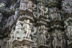 χαράζοντας ναός khajuraho λεπτομέ& Στοκ εικόνες με δικαίωμα ελεύθερης χρήσης