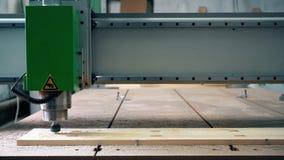 Χαράζοντας ξύλο μηχανών χάραξης με τη βοήθεια του προσώπου απόθεμα βίντεο
