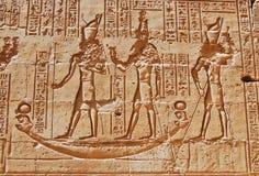 χαράζοντας hieroglyphs edfu ναός Στοκ Φωτογραφίες