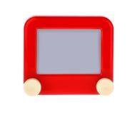 Χαράξτε ένα μήνυμα σε έναν κόκκινο πίνακα σκίτσων στοκ εικόνα