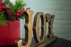 Χαρά και αειθαλείς διακοσμήσεις Χριστουγέννων, προοπτική Στοκ Φωτογραφία