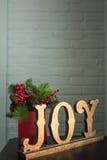 Χαρά και αειθαλείς διακοσμήσεις Χριστουγέννων Στοκ Φωτογραφίες