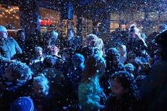 Χαρά Χριστουγέννων στο χιόνι Στοκ Φωτογραφίες