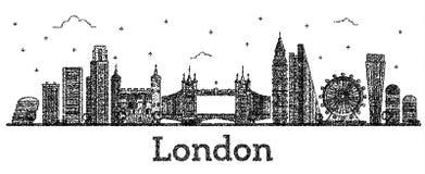 Χαραγμένος ορίζοντας πόλεων του Λονδίνου Αγγλία με τα σύγχρονα κτήρια Isola ελεύθερη απεικόνιση δικαιώματος