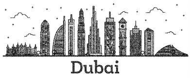 Χαραγμένος ορίζοντας πόλεων του Ντουμπάι Ε.Α.Ε. με το σύγχρονο απομονωμένο κτήρια ο απεικόνιση αποθεμάτων
