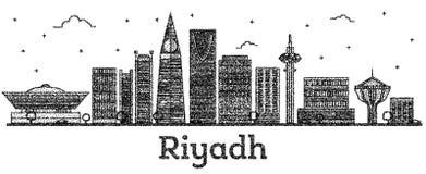 Χαραγμένος ορίζοντας πόλεων του Ριάντ Σαουδική Αραβία με τα σύγχρονα κτήρια ελεύθερη απεικόνιση δικαιώματος
