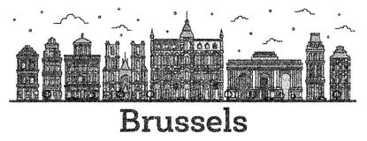 Χαραγμένος ορίζοντας πόλεων των Βρυξελλών Βέλγιο με τα ιστορικά κτήρια Ι ελεύθερη απεικόνιση δικαιώματος