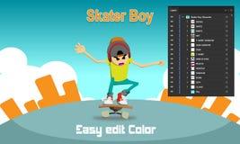 Χαρακτήρας αγοριών σκέιτερ απεικόνιση αποθεμάτων