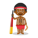 Χαρακτήρας από την Αυστραλία αυτόχθονα που ντύνει με τον παραδοσιακό τρόπο με το didgeridoo απεικόνιση αποθεμάτων