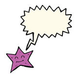 χαρακτήρας αστεριών κινούμενων σχεδίων με τη λεκτική φυσαλίδα Στοκ Εικόνες