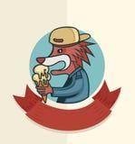 Χαρακτήρας αλεπούδων με το παγωτό Στοκ φωτογραφία με δικαίωμα ελεύθερης χρήσης