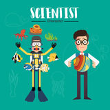 Χαρακτήρας επιστημόνων Στοκ Φωτογραφία