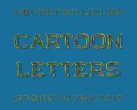 Χαρακτήρας επιστολών κινούμενων σχεδίων Καλλιτεχνική πηγή Απομονωμένο αγγλικό αλφάβητο Στοκ φωτογραφία με δικαίωμα ελεύθερης χρήσης