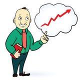 Χαρακτήρας επιχειρηματιών Σκεφτείτε το θετικό σχέδιο Επάνω Στοκ Εικόνες