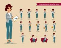 Χαρακτήρας επιχειρηματιών - σύνολο Ζωντανός χαρακτήρας Θηλυκός κατασκευαστής προσωπικοτήτων Διαφορετικές στάσεις γυναικών πολικό  απεικόνιση αποθεμάτων