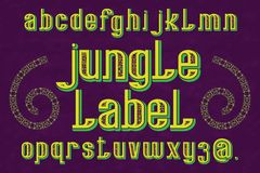 Χαρακτήρας ετικετών ζουγκλών διακοσμητικός τύπος χαρ&alph Απομονωμένο αγγλικό αλφάβητο Στοκ φωτογραφία με δικαίωμα ελεύθερης χρήσης