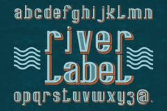 Χαρακτήρας ετικετών ποταμών τύπος χαρακτήρων αναδρομικός Απομονωμένο αγγλικό αλφάβητο Στοκ Φωτογραφία