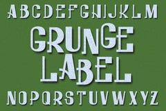 Χαρακτήρας ετικετών Grunge τύπος χαρακτήρων αναδρομικός Απομονωμένο αγγλικό αλφάβητο Στοκ φωτογραφία με δικαίωμα ελεύθερης χρήσης