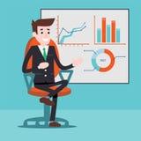 Χαρακτήρας διευθυντών δίπλα στα διαγράμματα σε ένα whiteboard διανυσματική απεικόνιση