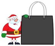 Χαρακτήρας κινουμένων σχεδίων Άγιου Βασίλη που παρουσιάζει τσάντα αγορών απεικόνιση αποθεμάτων
