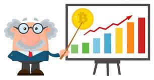 Χαρακτήρας κινουμένων σχεδίων καθηγητή ή επιστημόνων με το δείκτη που συζητά την αύξηση Bitcoin με μια γραφική παράσταση φραγμών Στοκ Εικόνες