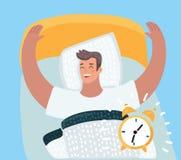 Χαρακτήρας κινουμένων σχεδίων ξυπνήστε από τον υγιή συναγερμό απεικόνιση αποθεμάτων
