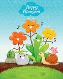 Χαρακτήρας κινουμένων σχεδίων της ευτυχίας λουλουδιών και ζώων στη βροχή ελεύθερη απεικόνιση δικαιώματος