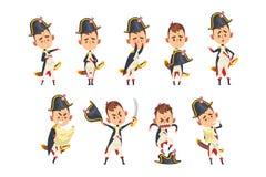 Χαρακτήρας κινουμένων σχεδίων Bonaparte Napoleon, γαλλικός ιστορικός αριθμός στη διαφορετική διανυσματική απεικόνιση καταστάσεων  απεικόνιση αποθεμάτων