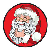 Χαρακτήρας κινουμένων σχεδίων Άγιου Βασίλη που παρουσιάζει Χαρούμενα Χριστούγεννα Tittle που γράφεται στο κενό διάστημα Στοκ Εικόνα