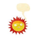χαρακτήρας κινουμένων σχεδίων ήλιων με τη λεκτική φυσαλίδα Στοκ φωτογραφία με δικαίωμα ελεύθερης χρήσης