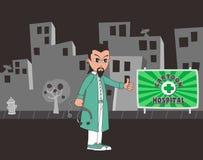 Χαρακτήρας κινουμένων σχεδίων γιατρών διανυσματική απεικόνιση