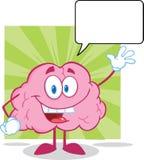 Χαρακτήρας κινουμένων σχεδίων εγκεφάλου που κυματίζει για το χαιρετισμό με το S Στοκ Εικόνες
