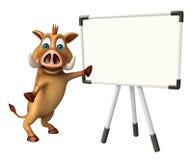 Χαρακτήρας κινουμένων σχεδίων κάπρων διασκέδασης με το σημάδι εργασίας απεικόνιση αποθεμάτων