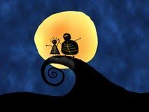 Χαρακτήρας κινουμένων σχεδίων και φεγγάρι Στοκ φωτογραφία με δικαίωμα ελεύθερης χρήσης